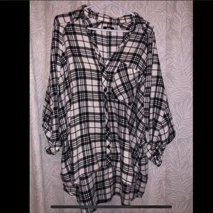 Urban outfitters cozy black and white flannel